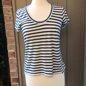 MADEWELL STRIPED SCOOP NECK COTTON T SHIRT S